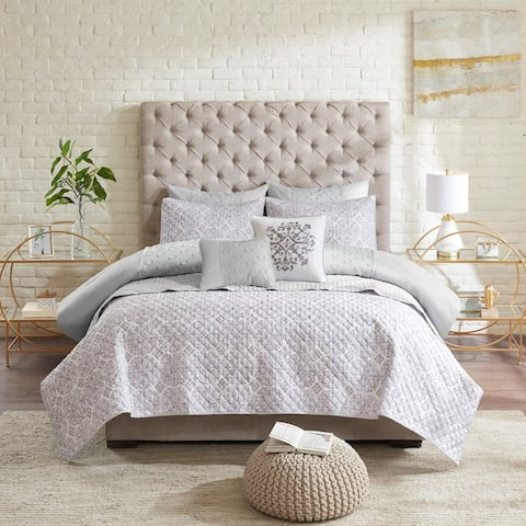 Madison Park Lexie Grey 8 Piece Clipped Jacquard Comforter and Coverlet Set Collection