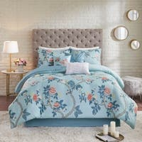 Madison Park Gladiolus Blue 7 Piece Reversible Printed Seersucker Comforter Set