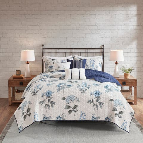 Madison Park Monah Blue 6 Piece Printed Seersucker Coverlet Set