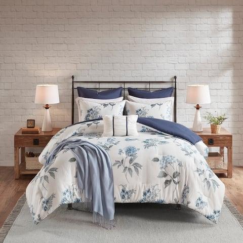 Madison Park Monah Blue 7 Piece Printed Seersucker Comforter Set with Throw Blanket