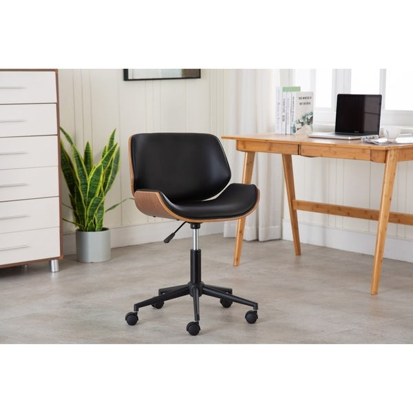 Porthos Home Niam Armless Swivel Office Chair, PU Leather Upholstery