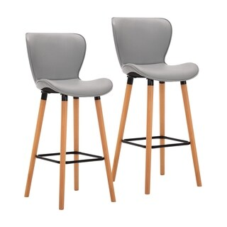 Porthos Home Paili Tall Bar Stools Set Of 2, Wingback Seat, PU Leather (Grey)
