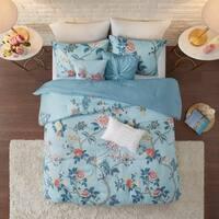 Madison Park Gladiolus Blue 3 Piece Reversible Printed Seersucker Duvet Cover Set