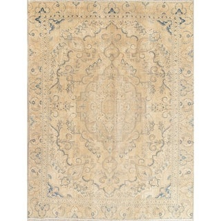 """Vintage Tabriz Muted Hand Knotted Wool Persian Distressed Area Rug - 12'0"""" x 8'7"""""""