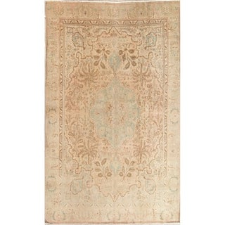 """Vintage Muted Tabriz Hand Knotted Wool Persian Distressed Area Rug - 11'8"""" x 9'3"""""""