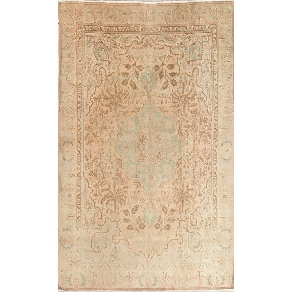 "Vintage Muted Tabriz Hand Knotted Wool Persian Distressed Area Rug - 11'8"" x 9'3"""