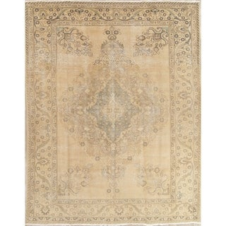 """Vintage Muted Tabriz Hand Knotted Wool Persian Distressed Area Rug - 12'9"""" x 9'5"""""""