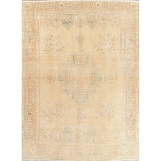 """Vintage Muted Tabriz Hand Knotted Wool Oriental Persian Area Rug - 12'9"""" x 9'5"""""""
