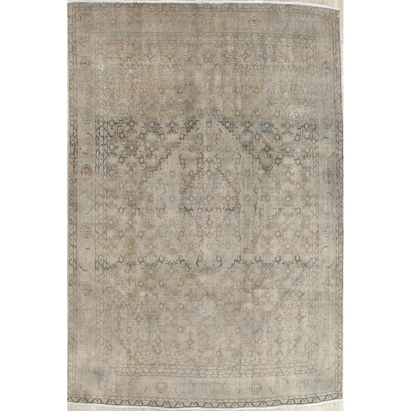 """Vintage Tabriz Muted Hand Knotted Wool Persian Distressed Area Rug - 11'8"""" x 8'5"""""""