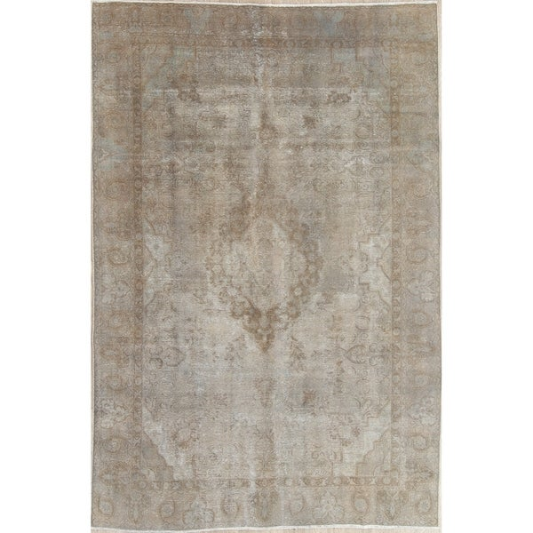 """Vintage Muted Tabriz Hand Knotted Wool Oriental Persian Area Rug - 11'5"""" x 7'3"""""""