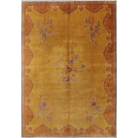 """Vintage Art Deco Floral Hand Knotted Wool Chinese Oriental Area Rug - 13'4"""" x 9'10"""""""