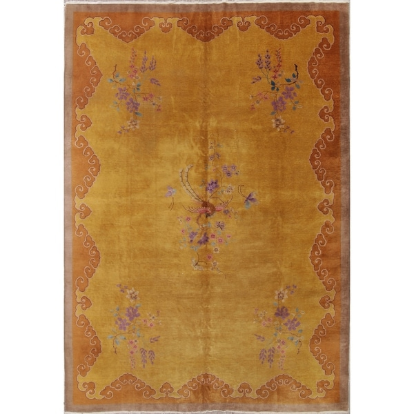 "Vintage Art Deco Floral Hand Knotted Wool Chinese Oriental Area Rug - 13'4"" x 9'10"""