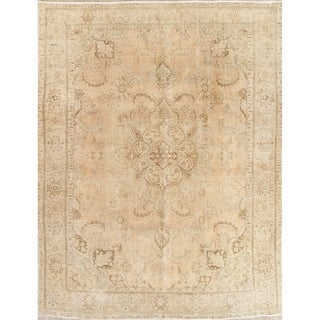 """Vintage Muted Tabriz Hand Knotted Wool Distressed Persian Area Rug - 12'9"""" x 9'4"""""""