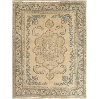 """Vintage Muted Tabriz Hand Knotted Wool Oriental Persian Area Rug - 12'5"""" x 9'7"""""""