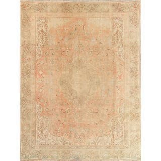 """Vintage Muted Tabriz Hand Knotted Wool Distressed Persian Area Rug - 11'10"""" x 8'7"""""""