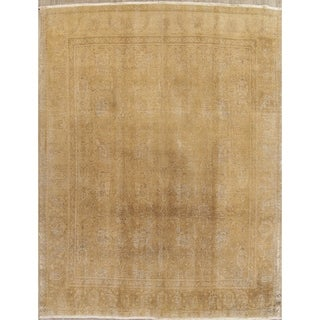 """Vintage Muted Tabriz Hand Knotted Wool Persian Distressed Area Rug - 12'3"""" x 9'8"""""""