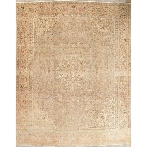 """Vintage Muted Tabriz Hand Knotted Wool Distressed Persian Area Rug - 13'3"""" x 9'10"""""""