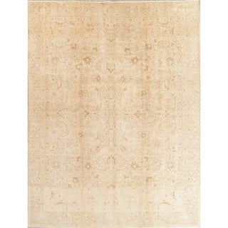 """Vintage Muted Tabriz Hand Knotted Wool Oriental Persian Area Rug - 12'9"""" x 9'3"""""""