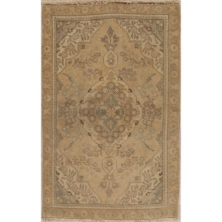 "Vintage Muted Tabriz Hand Knotted Wool Oriental Persian Area Rug - 4'10"" x 3'0"""