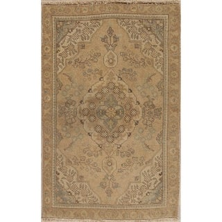 """Vintage Muted Tabriz Hand Knotted Wool Oriental Persian Area Rug - 4'10"""" x 3'0"""""""
