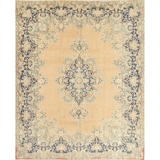 """Vintage Muted Kerman Hand Knotted Wool Oriental Persian Area Rug - 12'9"""" x 9'10"""""""