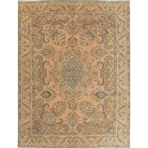 """Vintage Tabriz Muted Hand Knotted Wool Oriental Persian Area Rug - 11'8"""" x 8'4"""""""