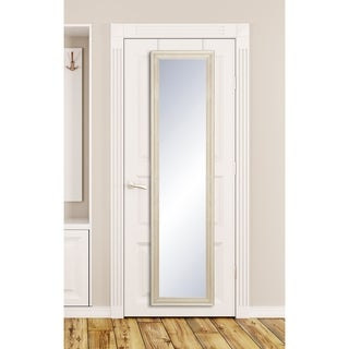 Farmhouse Catalina Cream Wood Finish Slim Over the Door Mirror