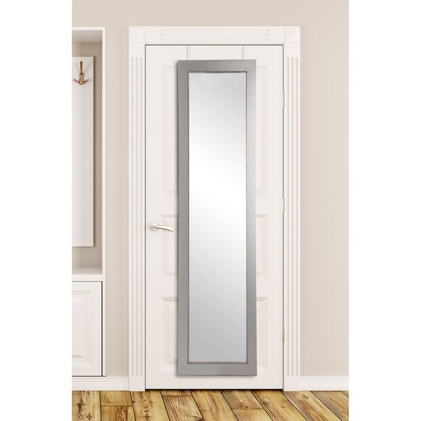 Silver-lined Charcoal Accent Full-length Over-the-door Mirror - 70.5 x 21