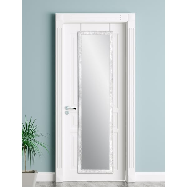 Farmhouse Grey and White Slim Over the Door Mirror
