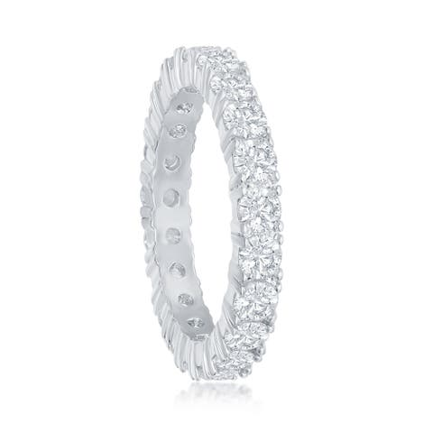 Silver Tone 4mm Cubic Zirconia Eternity Bridal Engagement Band Ring