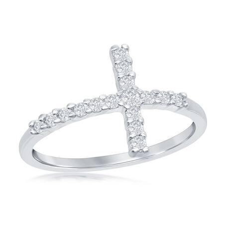 Silver Tone Sideways Cross Cubic Zirconia Ring
