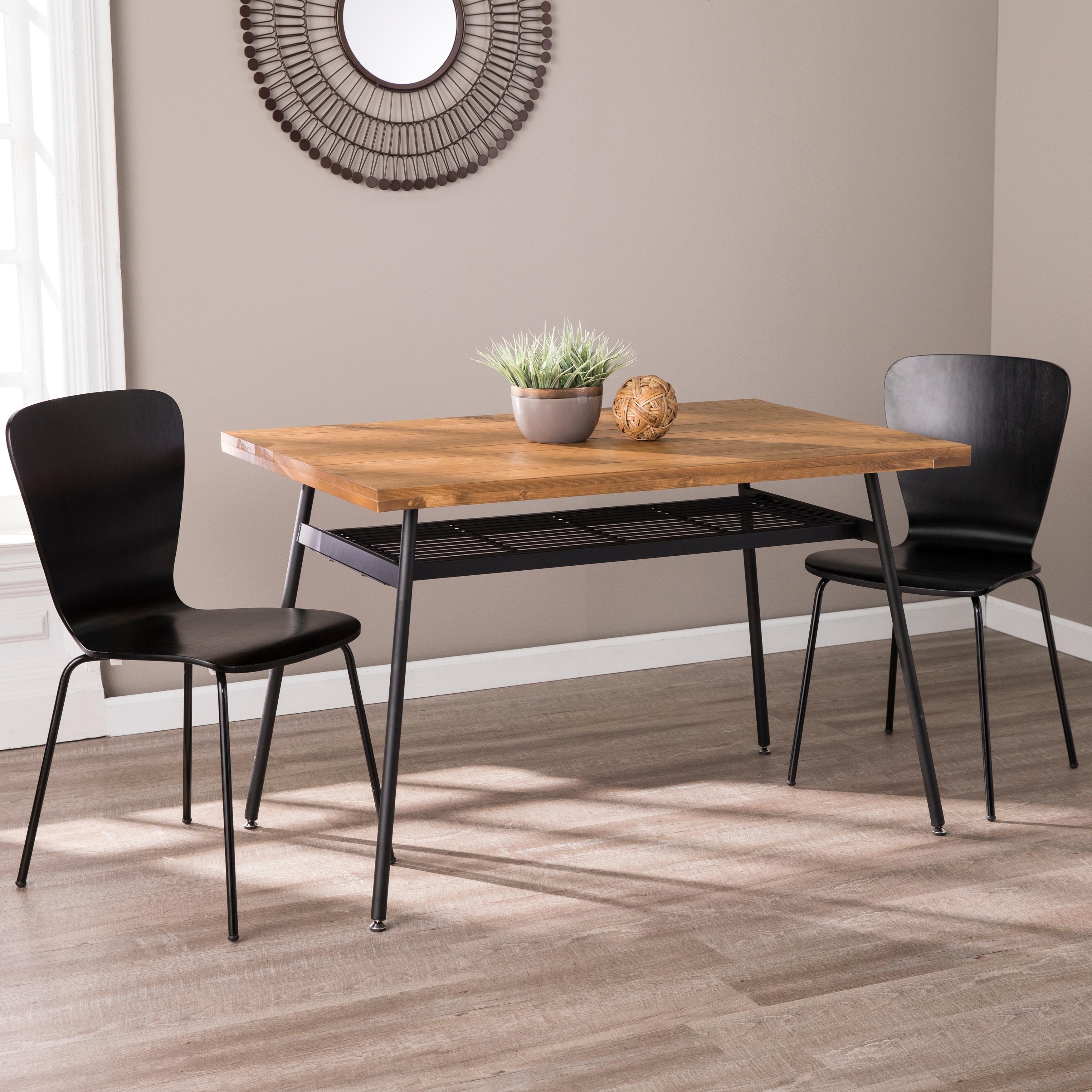 Carson Carrington Balamair Scandinavian Walnut Wood Dining Table - Natural  / Black