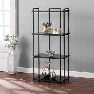 Carbon Loft Altair Black Glass 4-Tier Bookcase with Storage Shelves