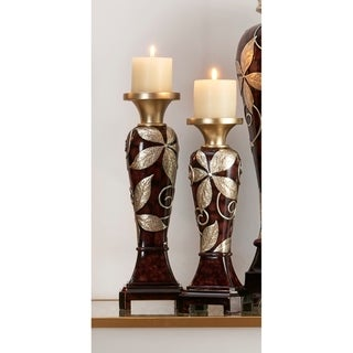 14 in, 16 in Folius Floral Foliage Candleholder Set of 2