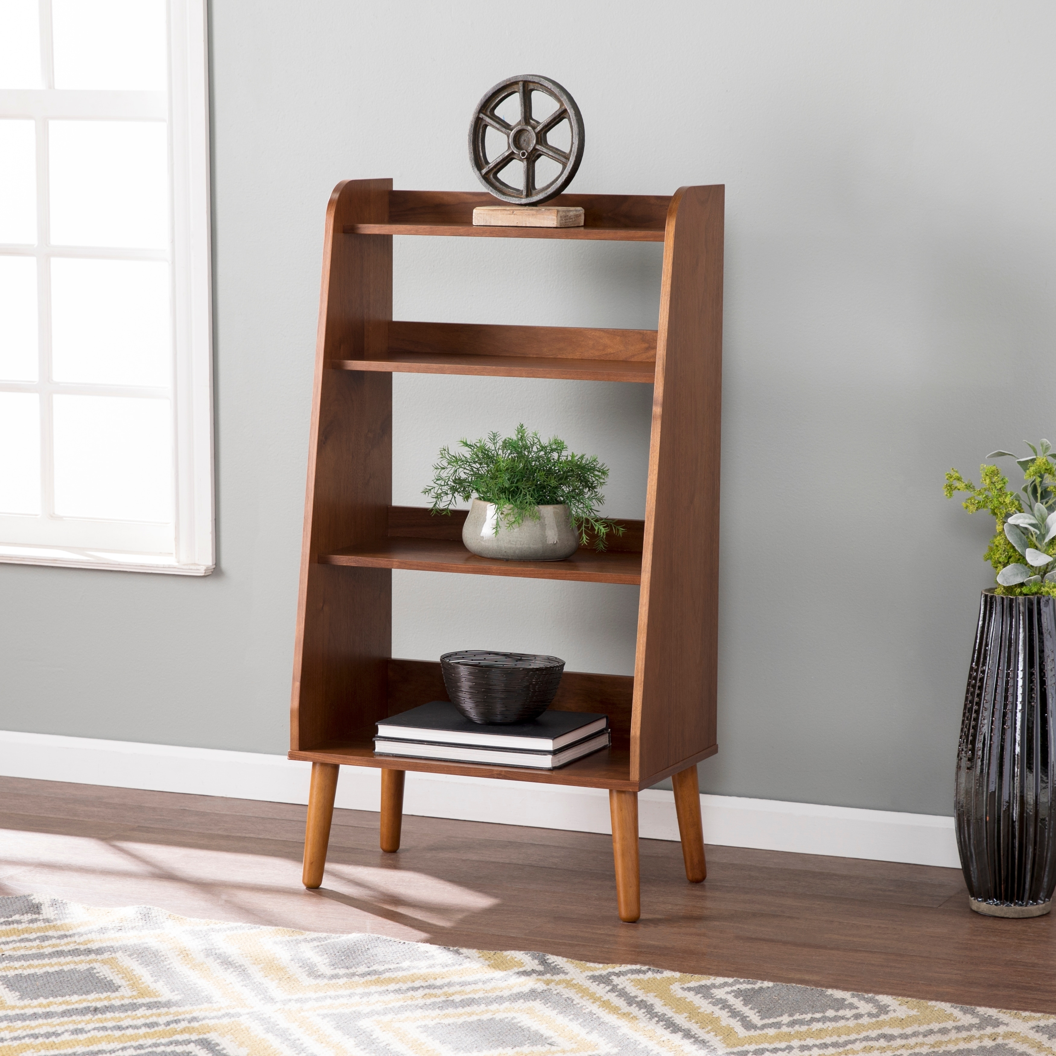 Carson Carrington Barrencroft Mid Century Modern Walnut Wood Bookshelf