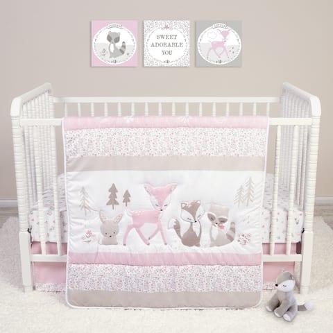 Sweet Forest Friends 4 Piece Crib Bedding Set