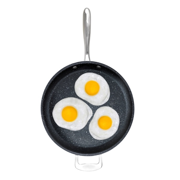 """Triple Coated with Ultra Nonstick Mineral Coating /& Heavy Duty Stainless Steel Helper Handle Granite Stone 14/"""" Extra Large Frying Pan Skillet"""