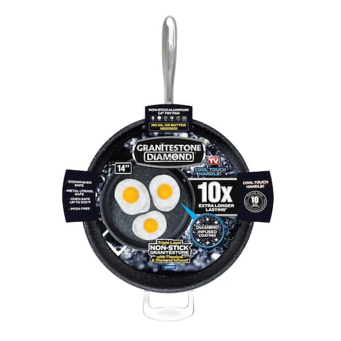 "Granitestone Diamond 14"" Nonstick Extra Large Frying Pan with Helper Handle"