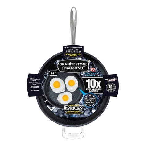 "Granitestone Diamond 14"" Nonstick Extra Large Frying Pan with Helper Handle"