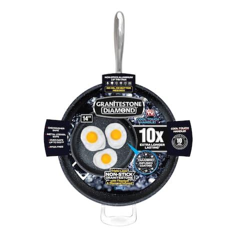 "Granite Stone Diamond 14"" Nonstick Extra Large Frying Pan with Helper Handle"