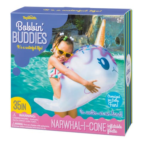 """Toysmith Bobbin Buddies 35"""" Narwhal-I-Cone Inflatable Floatie Pool Toy"""