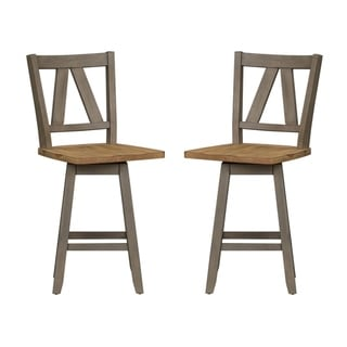 Lindsey Farm Grey and Sandstone Counter Swivel Chairs (Set of 2)