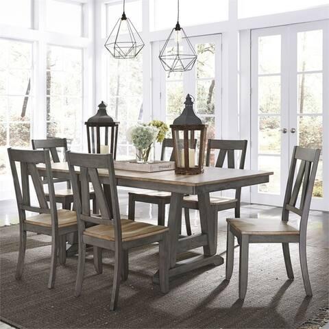 Lindsey Farm 7-piece Grey/Sandstone Trestle Table Set