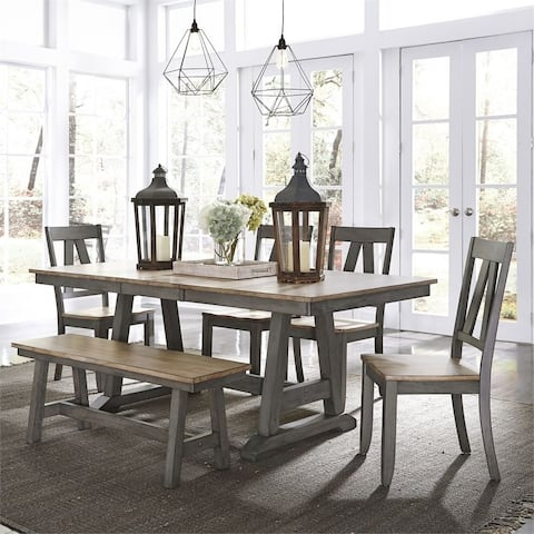 Lindsey Farm Grey and Sandstone 6-piece Trestle Table Set