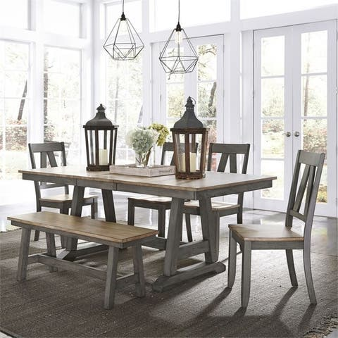 Lindsey Farm Grey and Sandstone 6-piece Trestle Table Dining Set