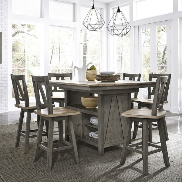 Lindsey Farm Grey and Sandstone 7-piece Gathering Table Set