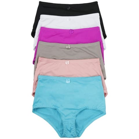(6-Pack) Women's High-Rise Girdle Panties in Regular and Plus Sizes