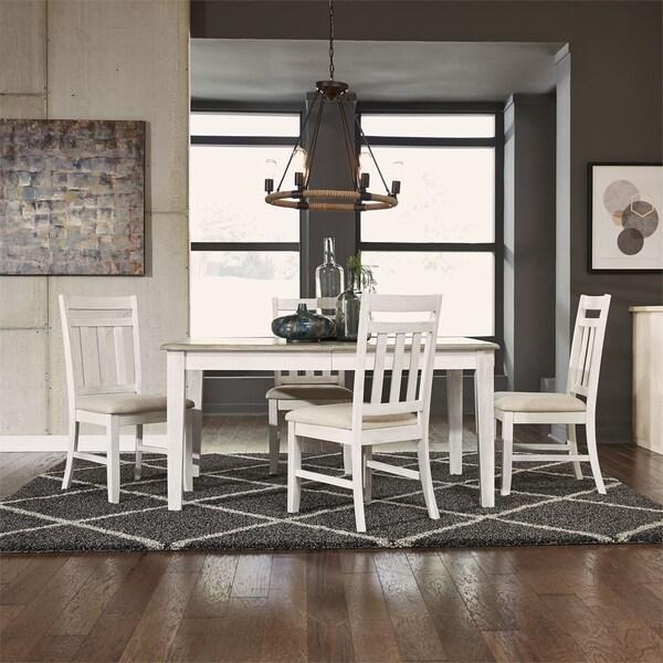 Summerville Soft White Wash and Grey 5-piece Rectangular Table Set