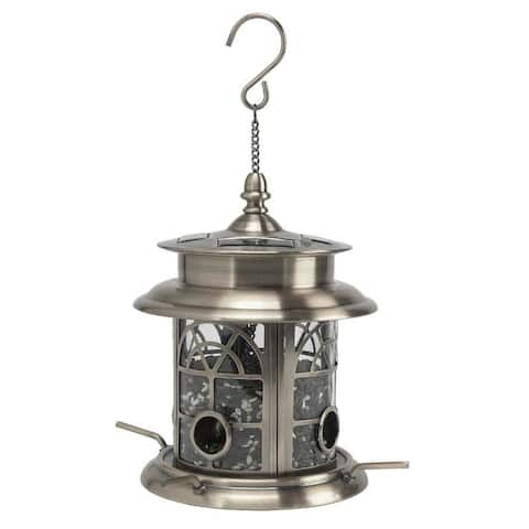 Sun-Ray Arch Inlay Solar Bird Feeder - Pewter