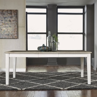 Summerville Soft White Wash and Brushed Grey Leg Table